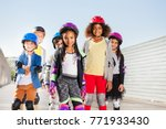 group of happy sporty kids... | Shutterstock . vector #771933430
