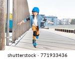 smiling boy practicing... | Shutterstock . vector #771933436