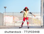 african girl exercising at... | Shutterstock . vector #771933448