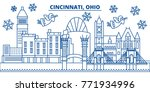 usa  ohio  cincinnati winter... | Shutterstock .eps vector #771934996