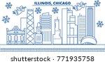 usa  illinois   chicago winter... | Shutterstock .eps vector #771935758