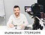 education video blog filming... | Shutterstock . vector #771941494