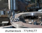 Metal drill. Metal industrial machines and tools - stock photo