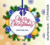 merry christmas lettering on... | Shutterstock .eps vector #771944608