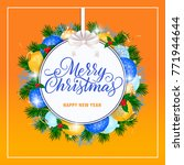 christmas lettering on orange... | Shutterstock .eps vector #771944644