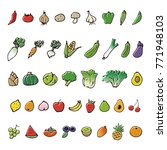 hand drawn vegetable and fruits ... | Shutterstock .eps vector #771948103
