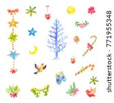 collection of little watercolor ...   Shutterstock . vector #771955348