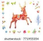 watercolor christmas set of...   Shutterstock . vector #771955354