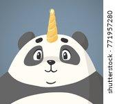 cute cartoon panda character in ... | Shutterstock .eps vector #771957280