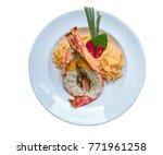 top view  thai style spaghetti... | Shutterstock . vector #771961258