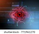 hacker's eye spying on a data... | Shutterstock . vector #771961270