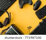 gamer workspace concept  top... | Shutterstock . vector #771987100