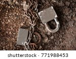 Old Rusty Chain Lock A Safety...