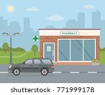 facade pharmacy store and suv... | Shutterstock .eps vector #771999178