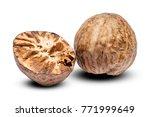 nutmeg isolated on white...   Shutterstock . vector #771999649