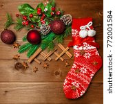 christmas red sock and the... | Shutterstock . vector #772001584