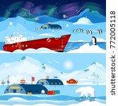 north pole  polar station... | Shutterstock .eps vector #772005118