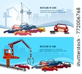 car scrap metal dump vector.... | Shutterstock .eps vector #772006768