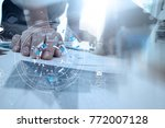 hands of businessman using... | Shutterstock . vector #772007128
