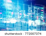 stock market chart with graph... | Shutterstock . vector #772007374