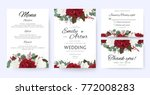 Stock vector wedding invite invitation save the date card with vector floral bouquet frame design garden red 772008283