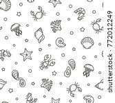 seamless pattern with sea food  ... | Shutterstock .eps vector #772012249
