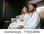 romantic couple enjoying...   Shutterstock . vector #772013848