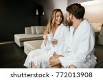 couple enjoying wellness weekend   Shutterstock . vector #772013908