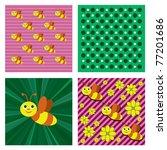 little bee. vector background.... | Shutterstock .eps vector #77201686
