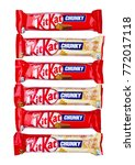 Small photo of LONDON, UK -DECEMBER 07, 2017: Kit Kat chunky chocolate bar white chocolate on white background. Bars Kit Kat is produced by Nestle company.