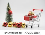 mini gift box in the red... | Shutterstock . vector #772021084