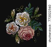 roses embroidery on a black... | Shutterstock .eps vector #772022560