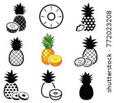 pineapple fruit icon collection ... | Shutterstock .eps vector #772023208