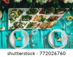 wedding table served with... | Shutterstock . vector #772026760