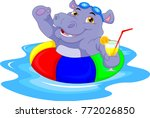 cartoon hippo with inflatable... | Shutterstock .eps vector #772026850