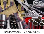 tools kit and protective gloves | Shutterstock . vector #772027378