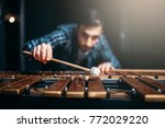 xylophone player with sticks ... | Shutterstock . vector #772029220