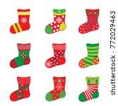 christmas socks for happy new...   Shutterstock .eps vector #772029463