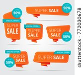 set of sale banner collection ... | Shutterstock .eps vector #772030678