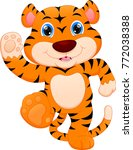 cute baby tiger cartoon | Shutterstock .eps vector #772038388