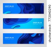 horizontal banners with 3d... | Shutterstock .eps vector #772040290