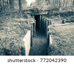 Old restored finnish trench from world war 2. Photo from Kuhmo, Finland.