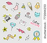 fashion girly stickers set. ... | Shutterstock .eps vector #772044253