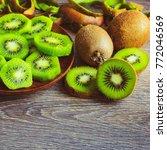 Peeled Kiwi On A Plate. Kiwi...