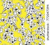 trendy seamless cherry blossom... | Shutterstock .eps vector #772047394
