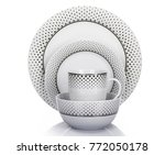 cookware set mug and dish with... | Shutterstock . vector #772050178