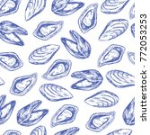 seamless vector pattern with... | Shutterstock .eps vector #772053253