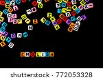 colorful english alphabet cube... | Shutterstock . vector #772053328