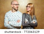 fashion hipster couple in love... | Shutterstock . vector #772063129