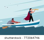 two men on a boat  one looks...   Shutterstock .eps vector #772064746